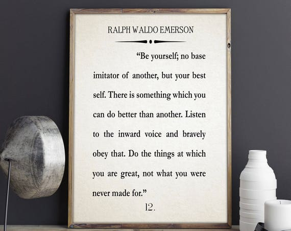 Be Yourself Quote Ralph Waldo Emerson Book Poster Motivation Quote Inspiring Quote Book Poster Literary Poster Literature Print Book Art