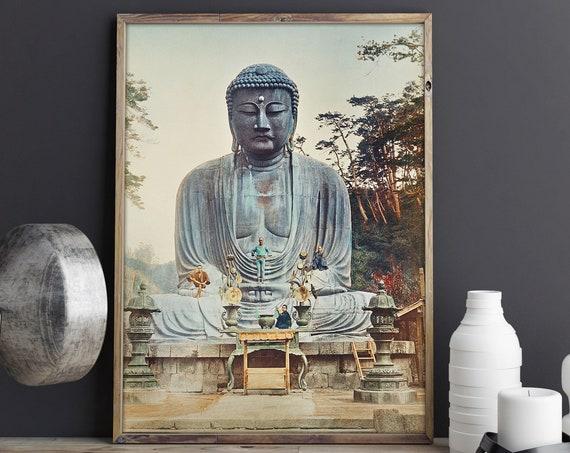 Buddhist Print The Bronze Buddha at Kamakura 1898 by Kazumasa Ogawa