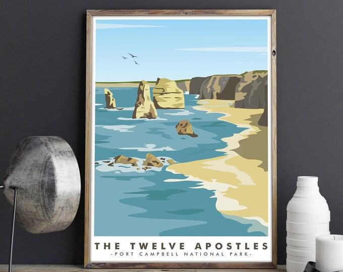 Australian Travel Poster The Twelve Apostles Ocean Art