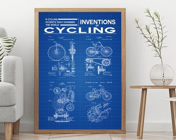 Cycling Poster Inventions of Cycling print Bicycle Wall Art