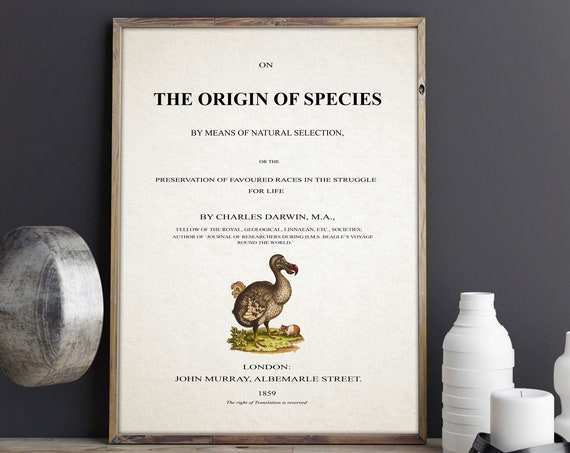 On The Origin of Species Title Page Charles Darwin Book