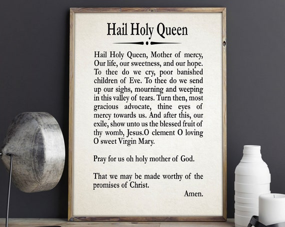 Hail Holy Queen Prayer Print Catholic Decor Prayer Gift