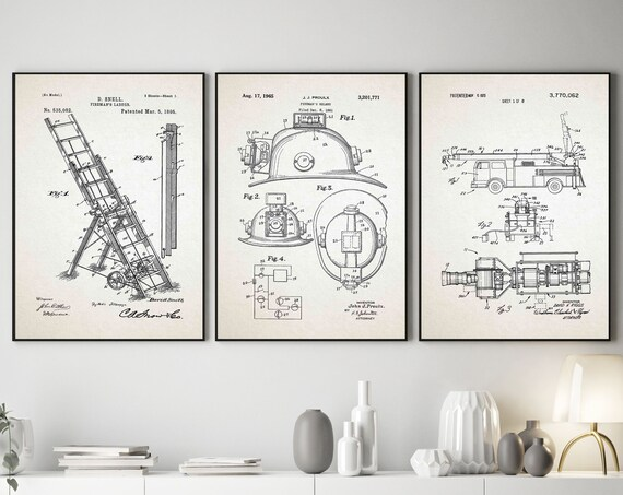 Fire Fighter Invention Prints Fire Fighter Wall Art Set of 3