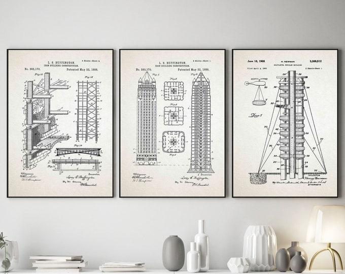 Modern Construction Blueprints Construction Wall Art Set of 3