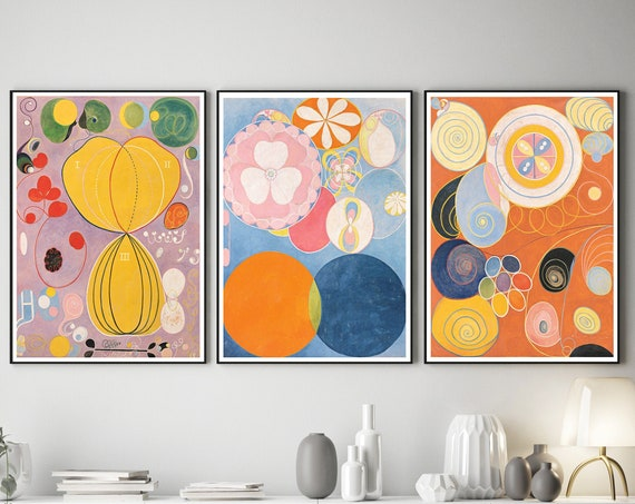 Hilma of Klint Abstract Art Set of 3 Abstract Prints Modern Abstract