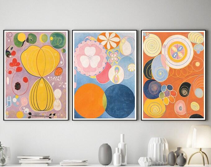 Hilma of Klint Abstract Art Set of 3 Abstract Prints Modern Abstract