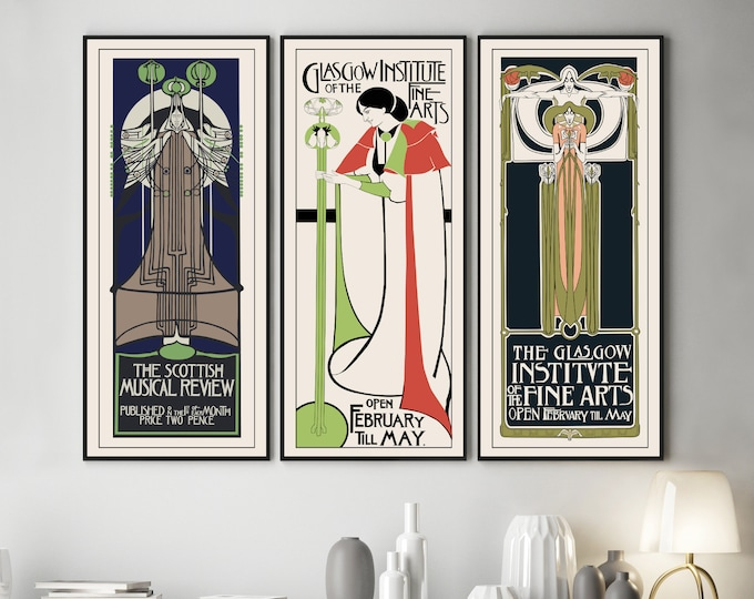 Charles Rennie Mackintosh Set of 3 Piece Wall Art Exhibition Posters