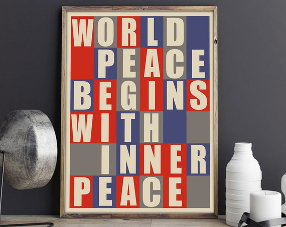 World Peace Starts With Inner Peace Poster Peace Print Bauhaus Style
