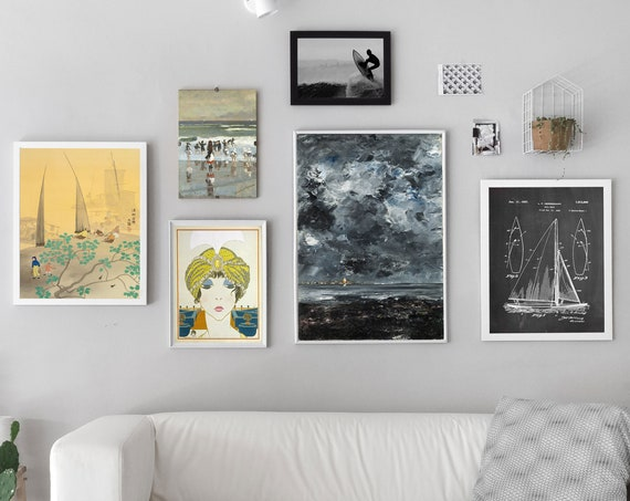 Nautical Themed Gallery Print Set of 6 Beach Gallery Wall Print