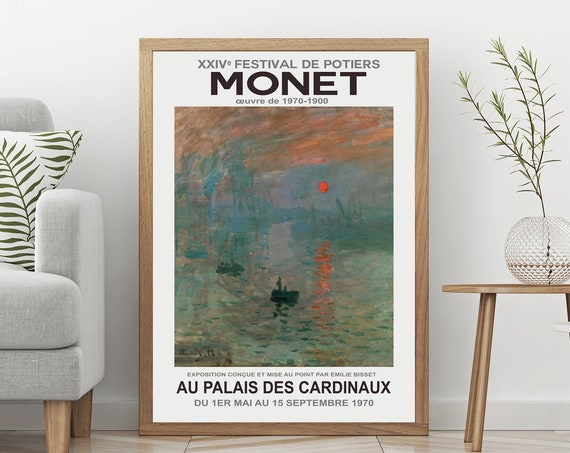 Monet Art Exhibition Poster 1970 French Art  Gallery Exhibition Print