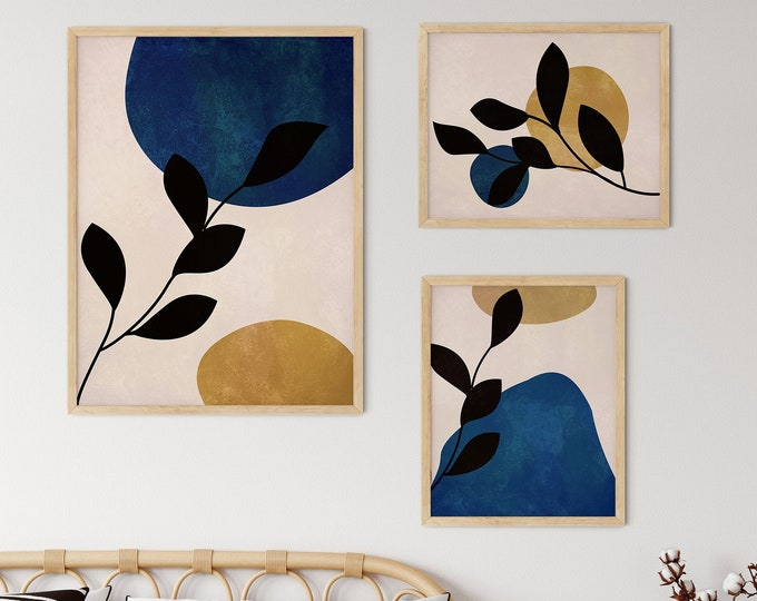 Blue and Gold Print Set of 3 Modern Floral Posters