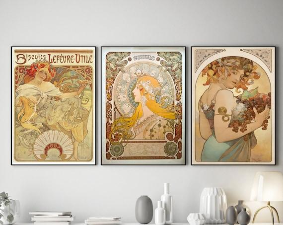 Alphonse Mucha Prints Set of 3 Art Nouveau Posters