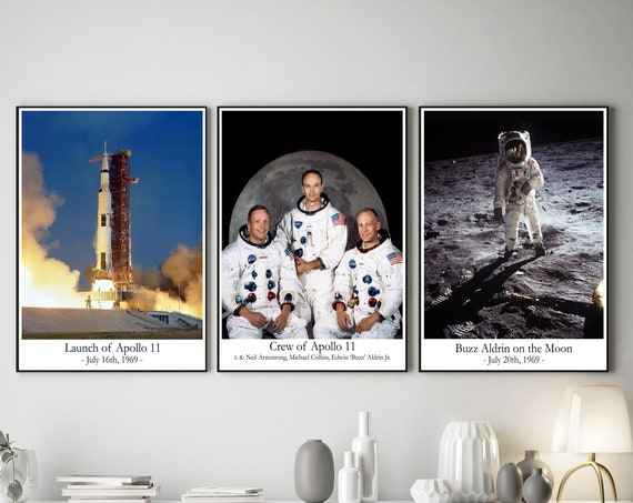 Space Poster Set of 3 Apollo 11 Moon Landing 1969 Astronaut Poster