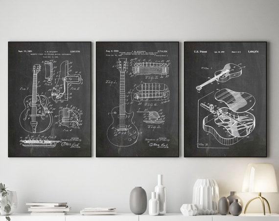 Guitar Prints Set of 3 Guitar Blueprints