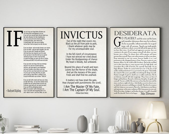 If Poem Invictus Poem and  Desiderata Inspirational Poems Set of 3