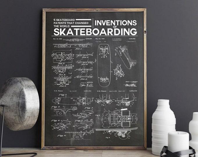 Inventions of Skateboarding Poster Skateboarding Decor - Win 1