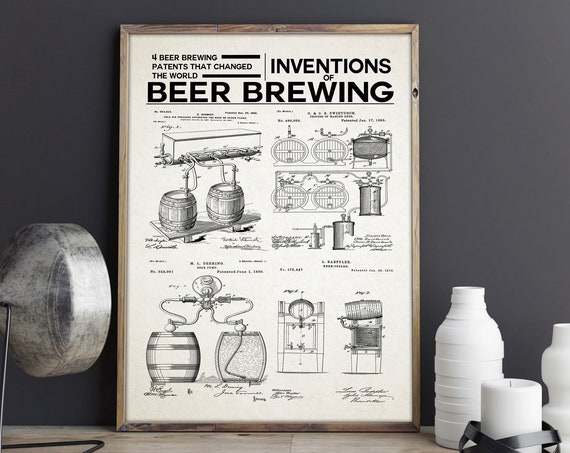Inventions of Beer Brewing Craft Beer Poster