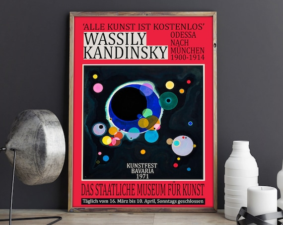 Kandinsky Exhibition Poster 1971 Red Abstract Poster Gallery Exhibition Art