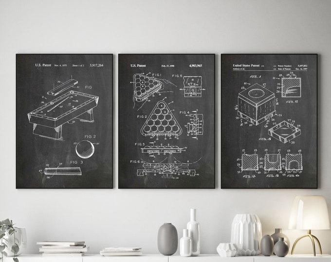 Billiards Invention Posters Set of 3 Billiards Prints