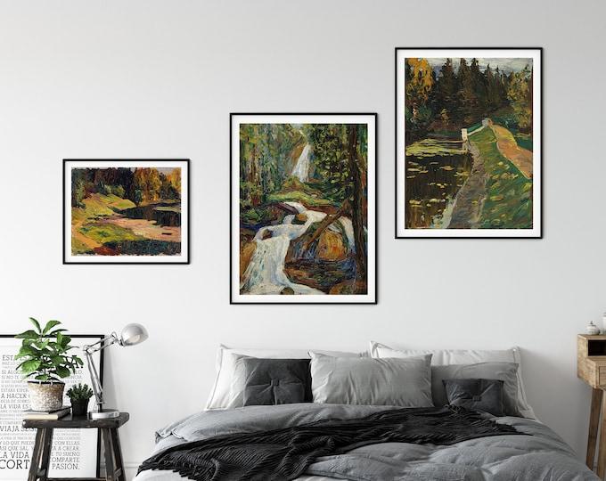 Green Environmental Art Wassily Kandinsky Gallery Set of 3 Landscape Pastoral Paintings