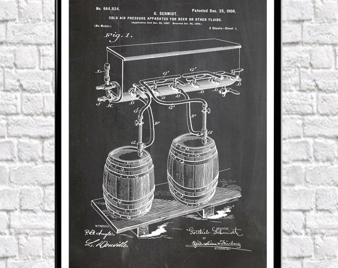 Beer Poster Beer Barrel Patent Poster Bar Poster Bar Decor Pub Posters Pub Decor (available in sizes up to 50cm x 70cm) WB127