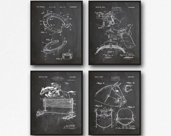 Horse Lover Gift Equine Poster Set of 4 Horse Patents Prints Horse Shoe Poster Bridle Poster Horse Jumping Poster Saddle Patent Print WB190