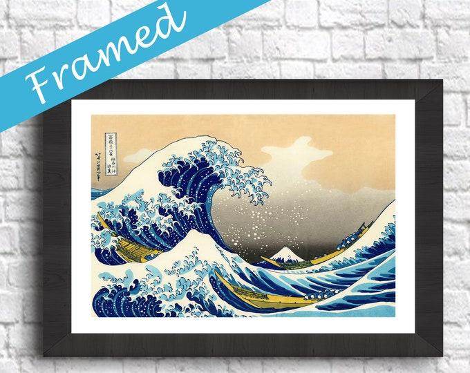 Framed The Great Wave off Kanagawa Print Wave Print Framed Decor Framed Wall Art