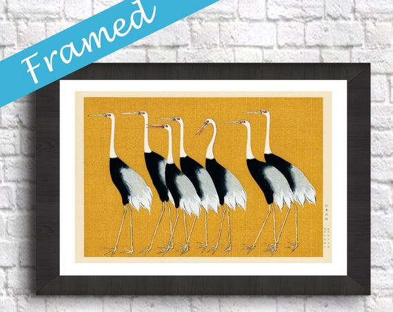 Framed Japanese Woodblock Print Framed Decor Flock of Red Crown Crane
