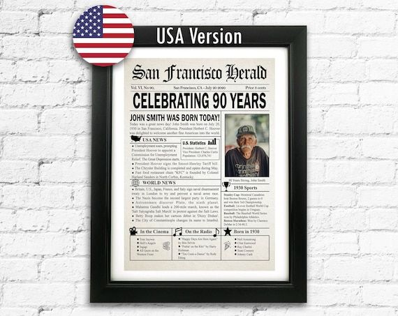 90 Year Old Birthday 90th Birthday Newspaper Front Page Print