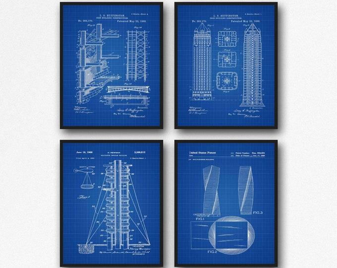 Architectural Blueprints Construction Blueprint Set of 4