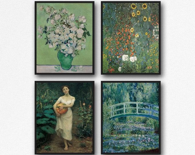 Green Painting Prints Set of 4 Van Gogh Art  Monet Art Klimpt Art