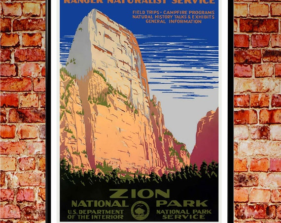 Zion National Park Poster Zion Utah National Park Utah Print Utah Poster 1938 USA Vintage Poster National Park USA Wall Art USA Posters