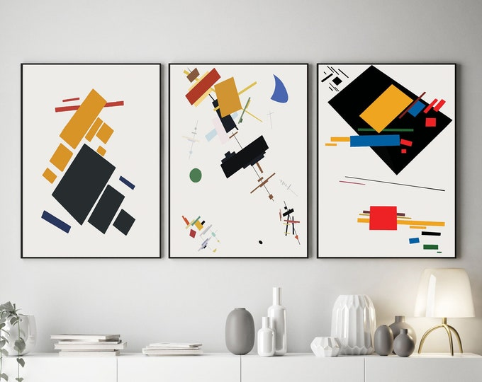 Abstract Art Prints by Kazimir Malevich Set of 3 Posters