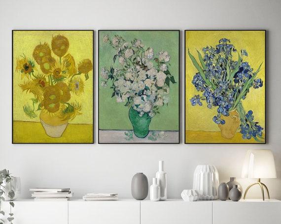 Vincent Van Gogh Paintings Set of 3 Van Gogh Flower Paints Sunflowers Roses Irises Kitchen Wall Art Kitchen Decor