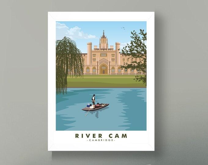 Cambridge Travel Poster Art Cambridge University Town Poster