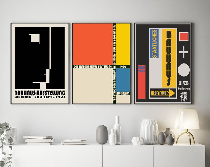 Abstract Bauhaus Posters 3 Rare German art School Prints