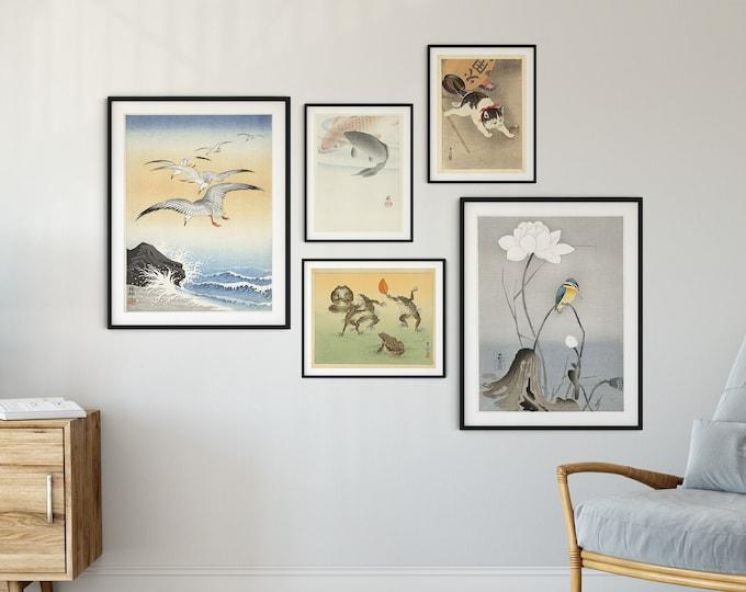 Japandi Wall Art Gallery Print Set of Japanese Woodblock Paintings by Ohara Koson