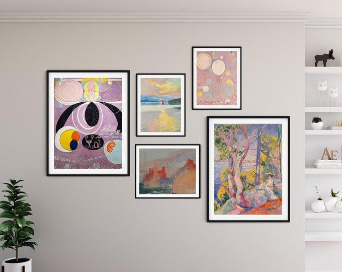 Gallery Print Set of Pastel Colors Paintings Set of 5 Gallery Wall Set