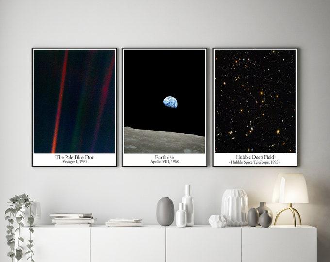Pale Blue Dot Earthrise and Hubble Deep Field - Set of 3 Space Wall Art Prints