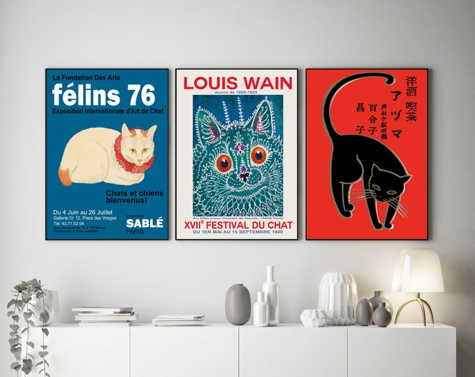 Cat Lover Posters Set of 3 Vintage Cat Exhibition Posters