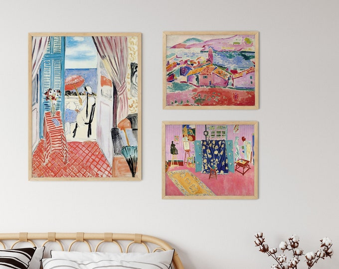 Matisse Print Gallery 3 Piece Art Set of Pink Aesthetic Wall Prints