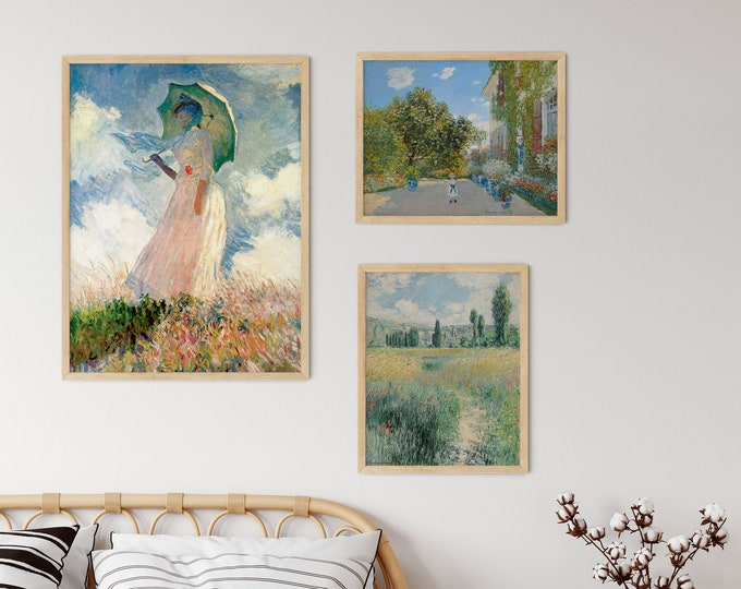 Pasture and Grasslands Art Print Set of 3 Gallery Wall Prints by Claude Monet