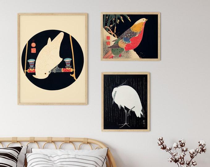 Japan Gallery Wall Japanese Bird Art 3 Piece Japanese Gallery Wall Prints