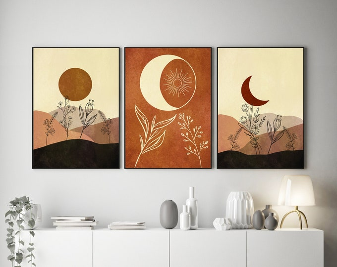 Sun and Moon Prints Set of 3 Boho Style Moon Decor