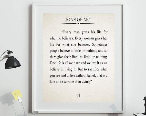 Joan of Arc Quote Be Yourself Quote Catholic Quote