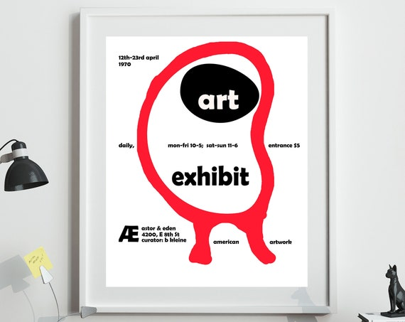 1970 Art Exhibition Print Exhibition Poster 1970s Poster
