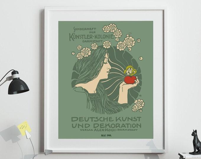 Green Art Nouveau Poster Vintage Style Print