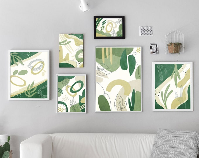 Green Floral Set of 6 Prints Fresh Modern Home Decor Poster Set