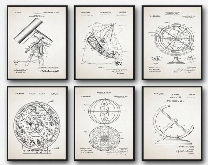 Astronomy Poster Set of Astronomy Patent Prints Astronomy Wall Art Star Map Constellation Posters Constellation Art Astronomy Art WB182