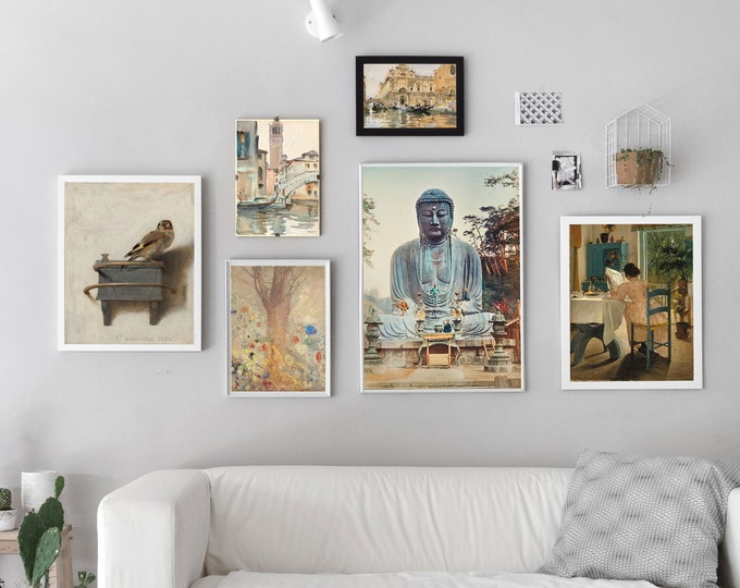 Neutral Colors Wall Art Gallery Set of 6 Neutral Tone Paintings
